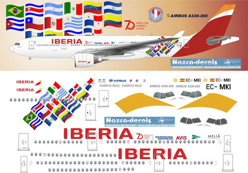 1/144 Scale Decal Iberia A330-200 70 Year Anniversary