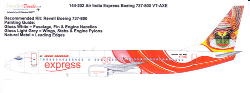 1/144 Scale Decal Air India Express 737-800 VT-AXE
