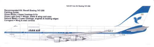 1/144 Scale Decal Iran Air 747-200
