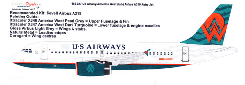 1/144 Scale Decal USAirways A-319 Retro America West Late