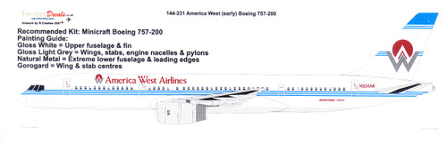 1/144 Scale Decal America West 757-200