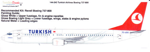 1/144 Scale Decal Turkish 737-800