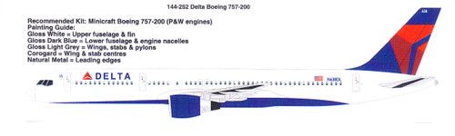 1/144 Scale Decal Delta Airlines 757-200