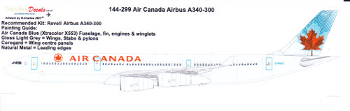 1/144 Scale Decal Air Canada A340-300