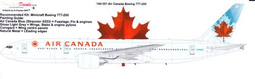 1/144 Scale Decal Air Canada 777-200
