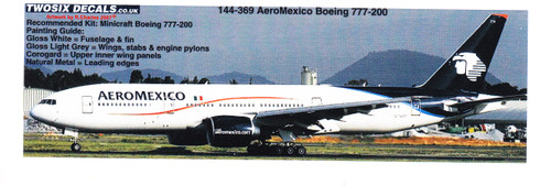 1/144 Scale Decal AeroMexico 777-200