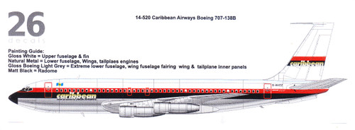 1/144  Scale Decal Caribbean Airways 707-138B