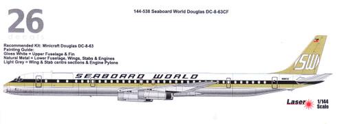 1/144  Scale Decal Seaboard World DC8-63CF