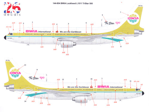 1/144  Scale Decal BWIA L1011-500