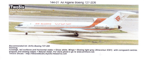1/144  Scale Decal Air Algerie 727-200