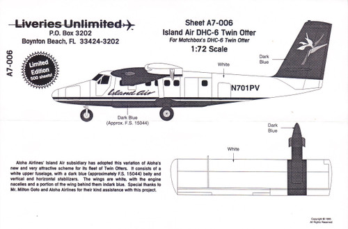 1/72 Scale Decal Island Air DHC-6 Twin Otter