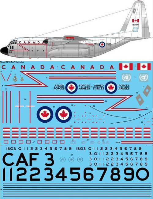 1/72 Scale Decal CAF Canadian Armed Forces C-130E