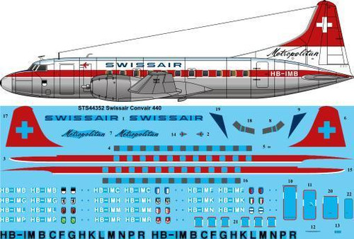 1/144  Scale Decal Swissair Convair 440 Metropolitan