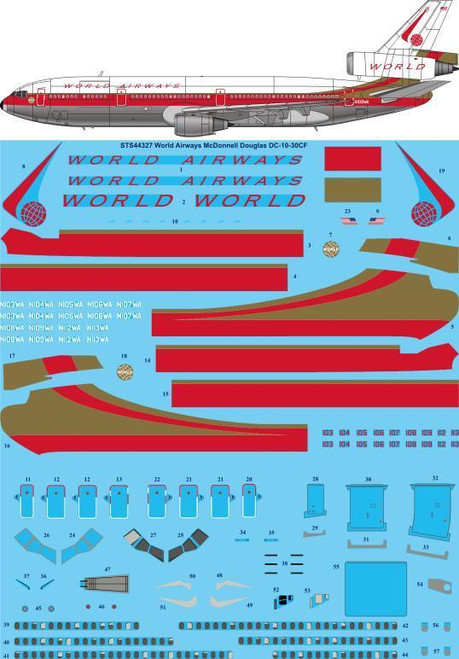 1/144  Scale Decal World Airways DC-10-30CF