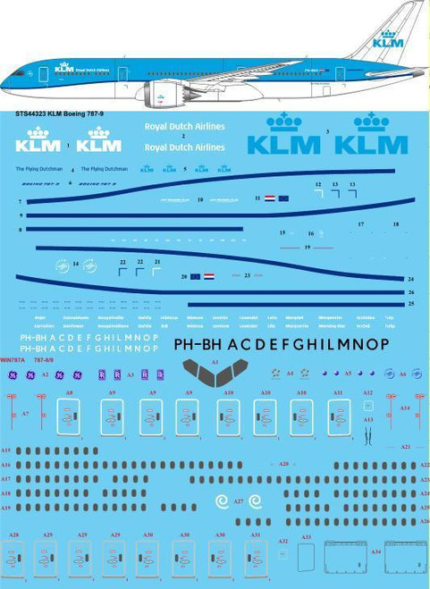 1/144  Scale Decal KLM Boeing 787-9