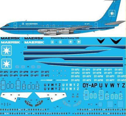 1/144  Scale Decal Maersk Air Boeing 720B