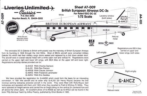 1/72 Scale Decal British European Airways DC-3