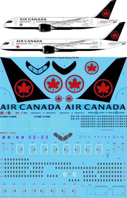 1/144  Scale Decal Air Canada Boeing 787-8/9