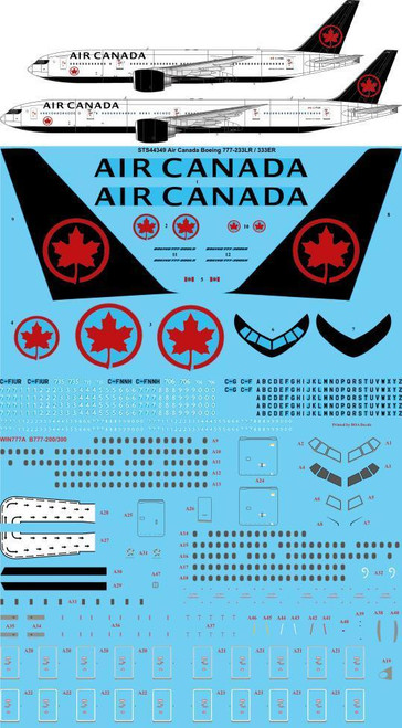 1/144  Scale Decal Air Canada Boeing 777-233LR / 333ER