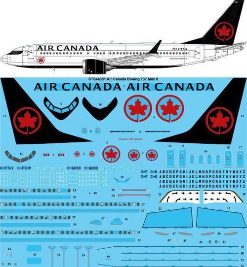 1/144  Scale Decal Air Canada Boeing 737 Max 8