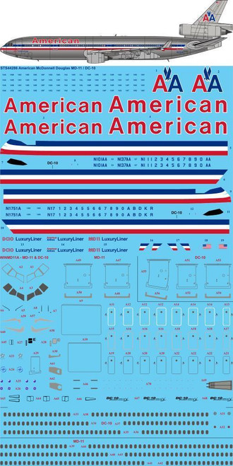 1/144  Scale Decal American Airlines DC-10 / MD-11