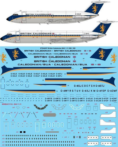 1/144  Scale Decal British Caledonian Early BAC 1-11-200 / 500