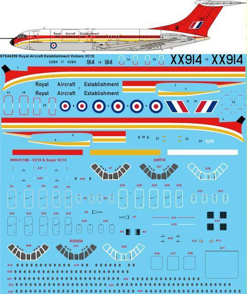 1/144  Scale Decal Royal Aircraft Establishment RAE Vickers VC10 1101