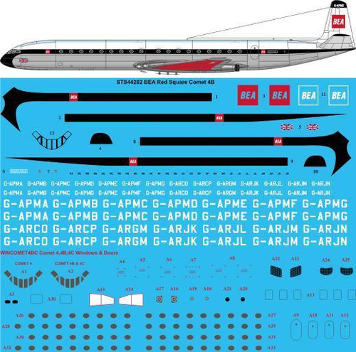 1/144  Scale Decal BEA Red Square De Havilland Comet 4B