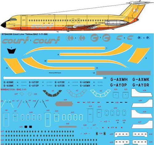 """1/144  Scale Decal Court Line """"Yellow"""" BAC 1-11-500"""