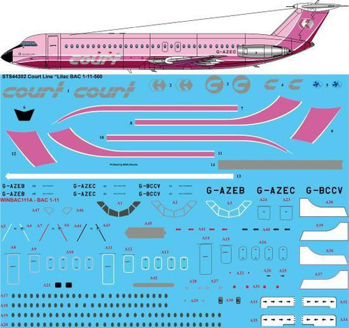 "1/144  Scale Decal Court Line ""Lilac"" BAC 1-11-500"