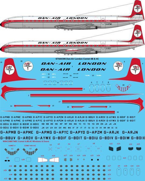 1/144  Scale Decal Dan-Air London De Havilland Comet 4B & 4C