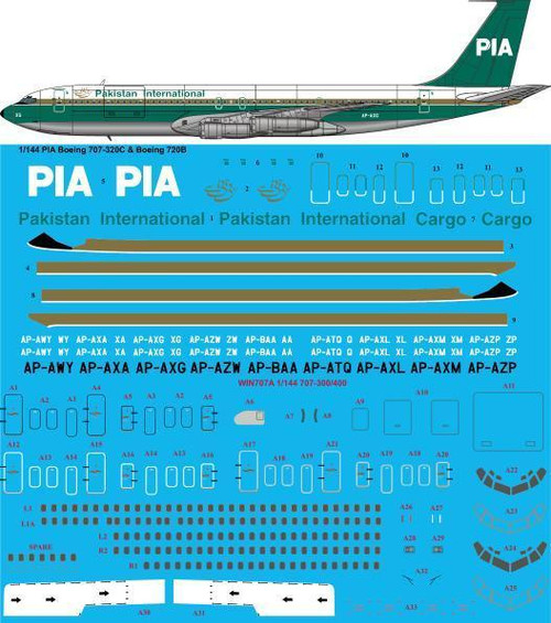 1/144  Scale Decal PIA Pakistan International 1980s 707-320C