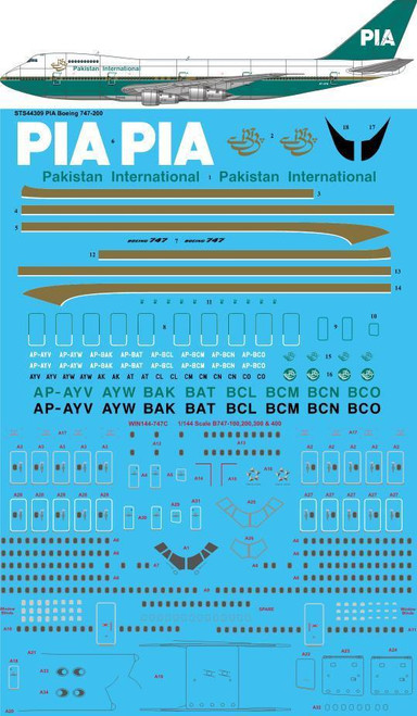 1/144  Scale Decal PIA Pakistan International 1980s 747-200