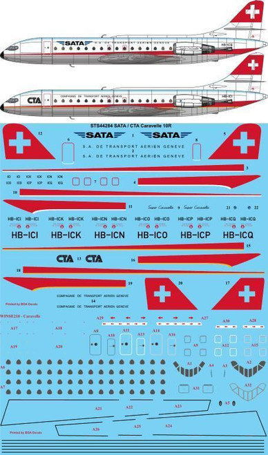 1/144  Scale Decal SATA / CTA Caravelle 10R