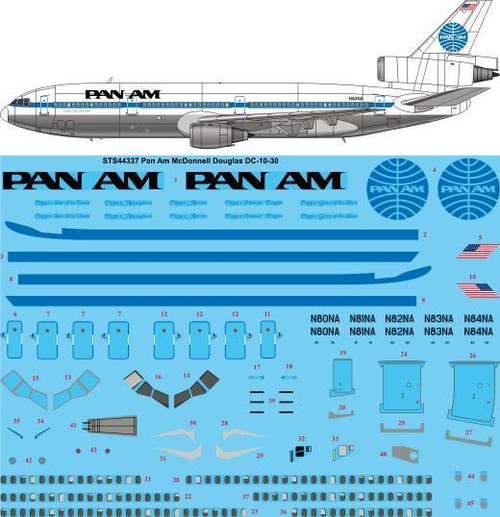 1/144  Scale Decal Pan Am DC-10-30