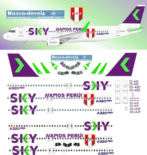 1/200 Scale Decal Sky Airlines A-320 w/ Specials
