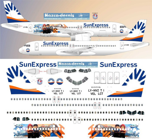 1/200 Scale Decal Sunexpress (Avion Express ) wetlease A-320 w/ Special Titles