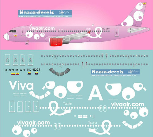 1/144 Scale Decal Vivaair.com A-320 Rosa