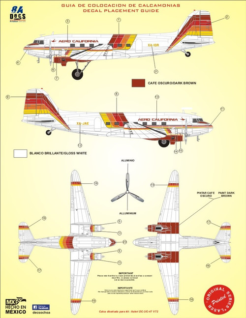 1/72 Scale Decal Aero California DC-3