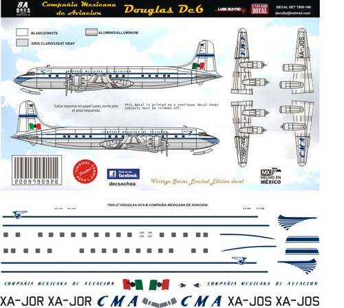 1/72 Scale Decal Mexicana  DC-6 50's