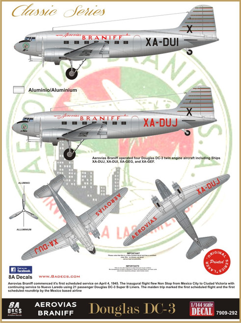 1/72 Scale Decal Braniff DC-3