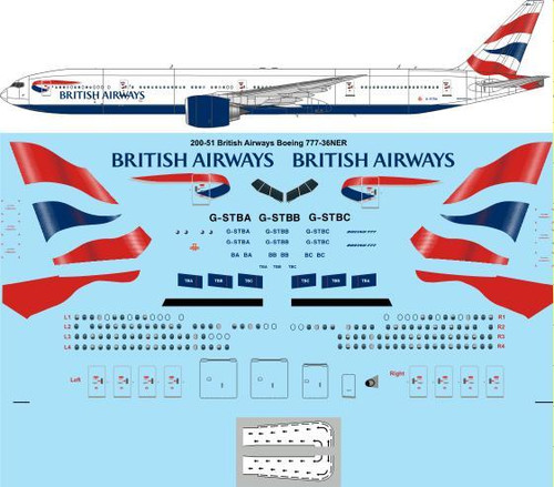 1/200 Scale Decal British Airways Boeing 777-36NER