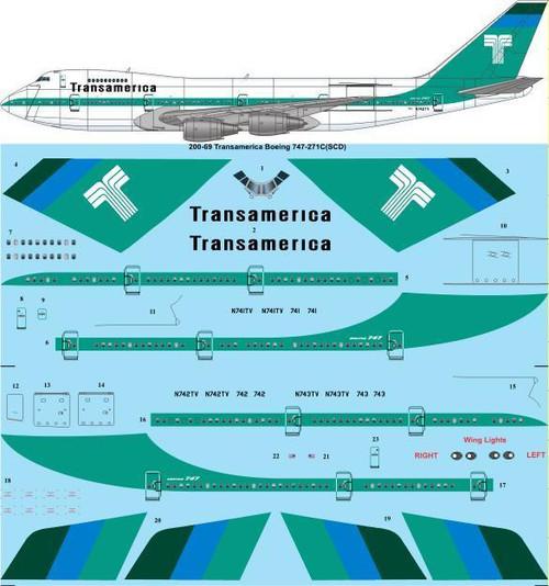 1/200 Scale Decal Transamerica Boeing 747-271C(SCD)