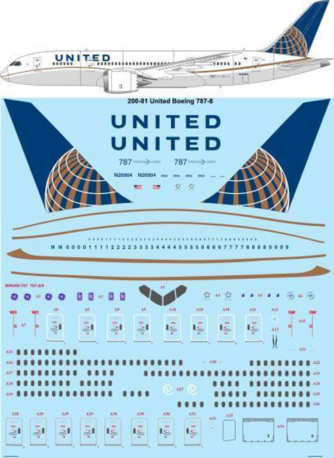 1/200 Scale Decal United Boeing 787-8