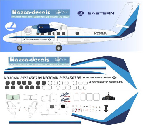 1/72 Scale Decal Eastern Metro Express Twin Otter