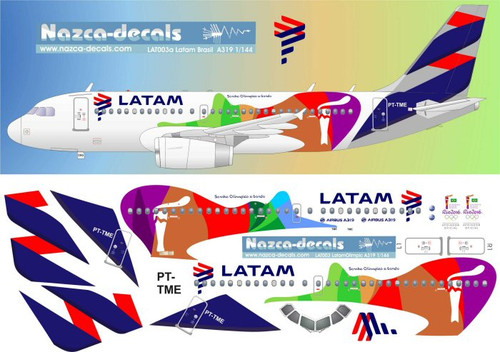 1/144 Scale Decal LATAM A-319