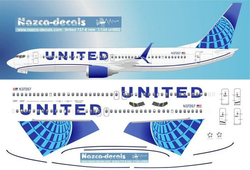 1/144 Scale Decal United 737-800 NEW