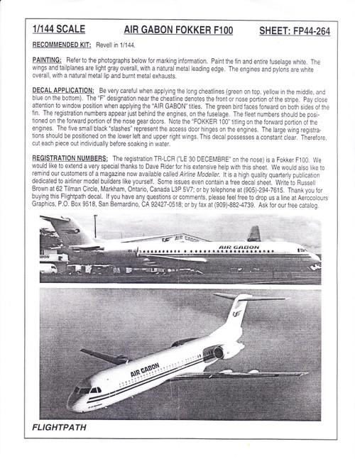 1/144 Scale Decal Air Gabon F-100