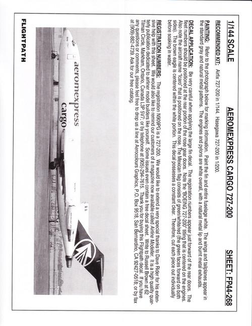 1/144 Scale Decal Aeromexpress Cargo 727-200