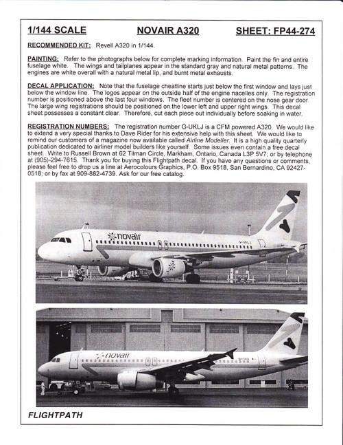 1/144 Scale Decal Nova Air A-320
